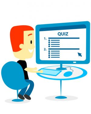 Man Taking A Quiz on Computer Screen